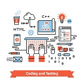 Mobile application design, coding process concept