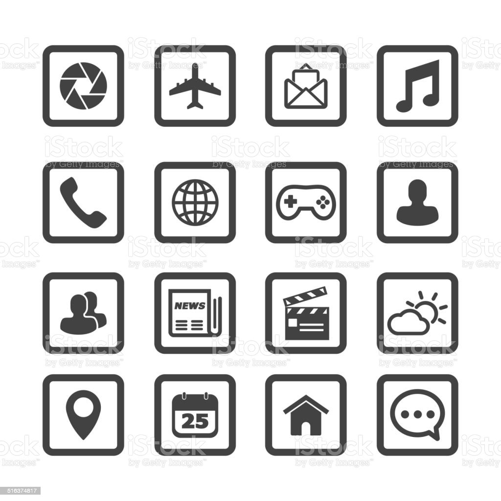 mobile application icons vector art illustration