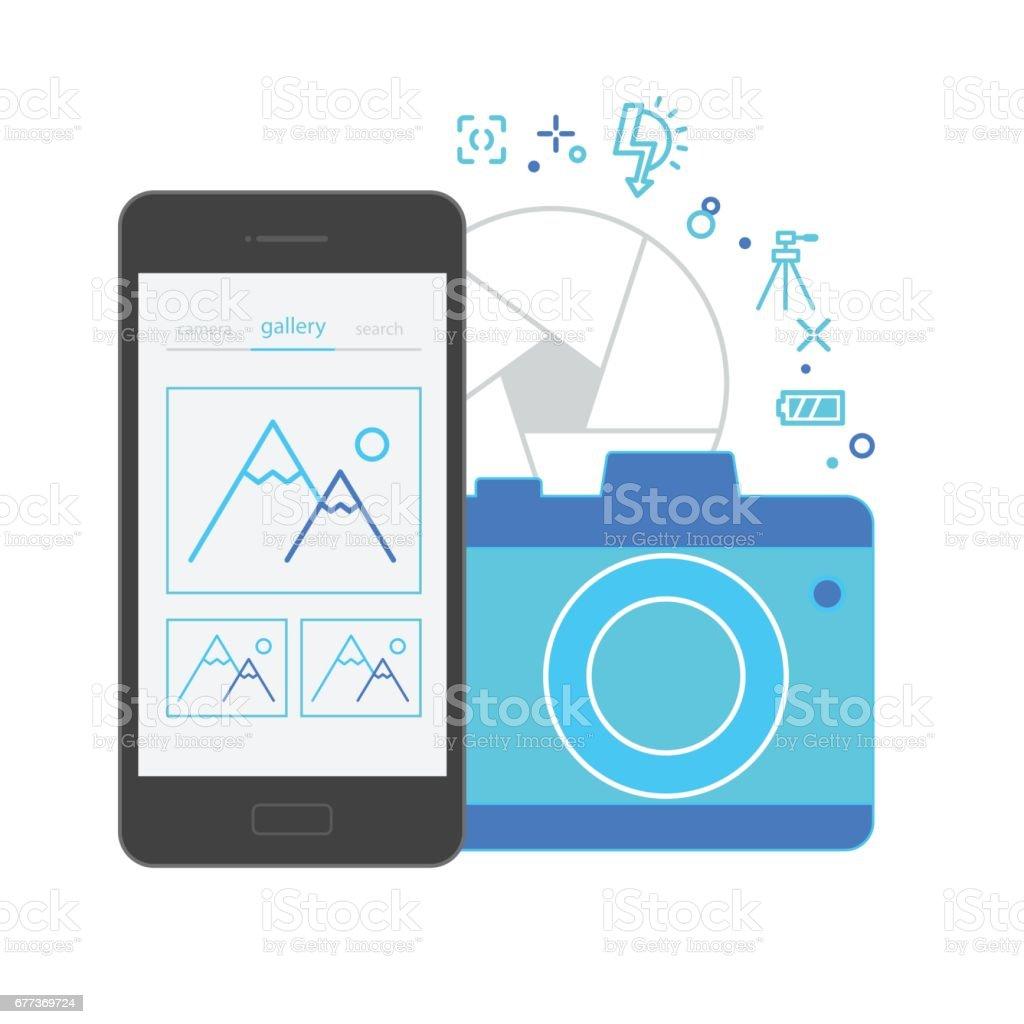 Mobile Application Interface, Camera vector art illustration