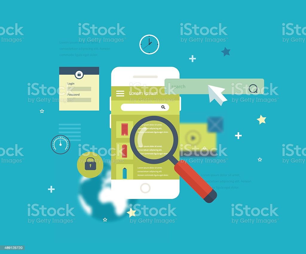 Mobile application to search for real estate vector art illustration