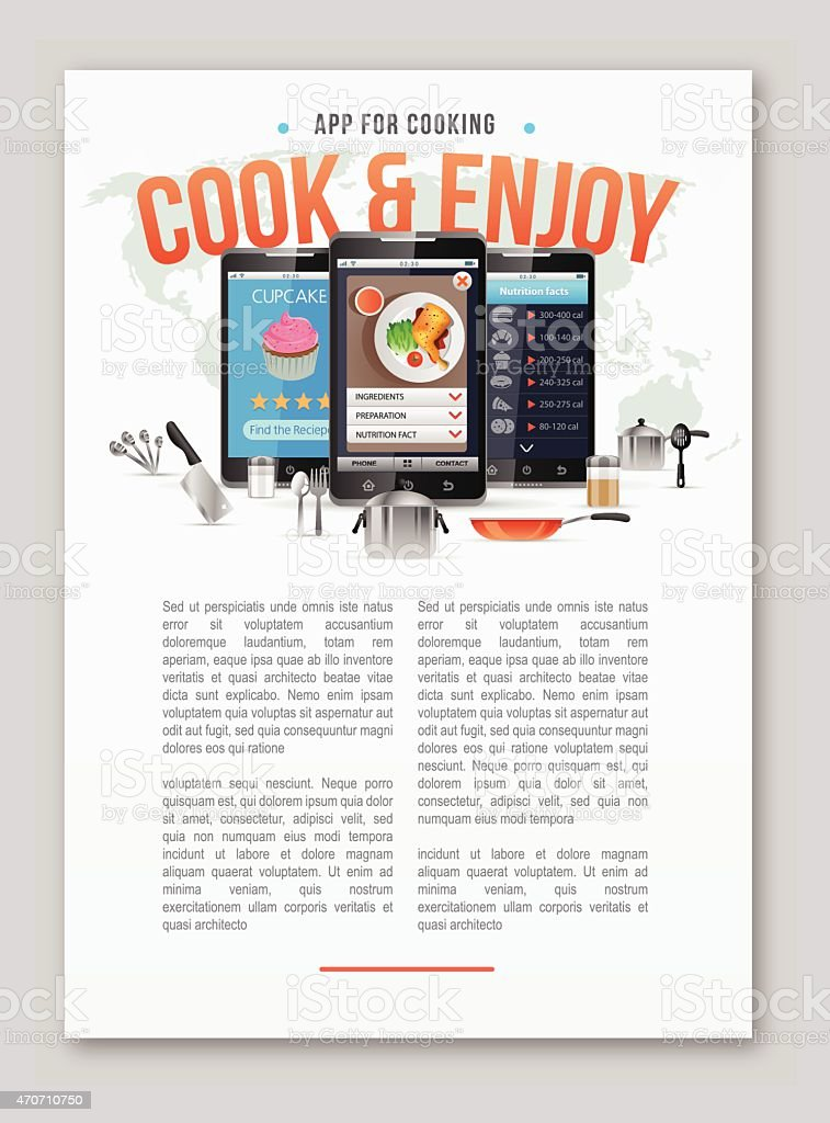 Mobile apps for foods and cooking copy space. vector art illustration