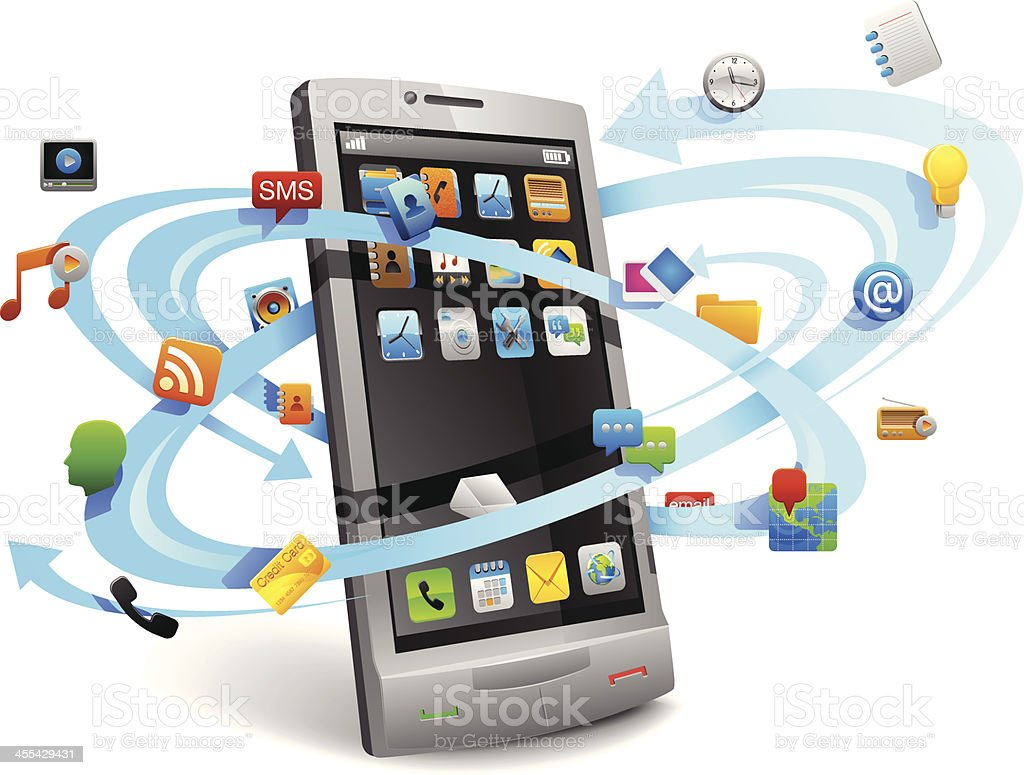 Mobile Apps in smartphone. royalty-free stock vector art