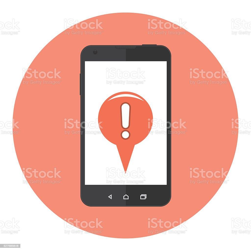 Mobile Attention Mark vector art illustration