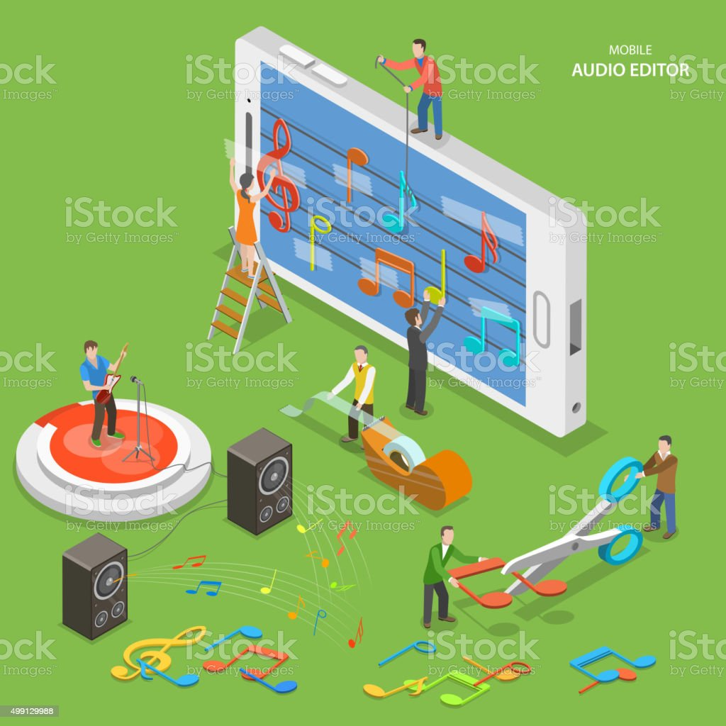 Mobile audio editor flat isometric vector concept. vector art illustration