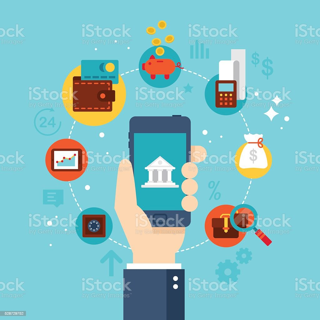 Mobile banking concept. Flat stylish icon design vector art illustration