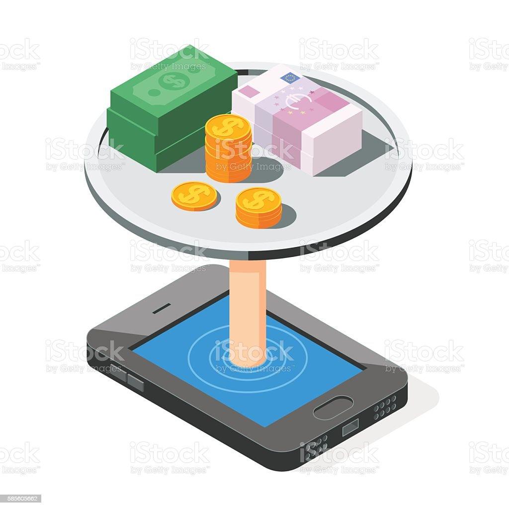 Mobile banking concept vector art illustration