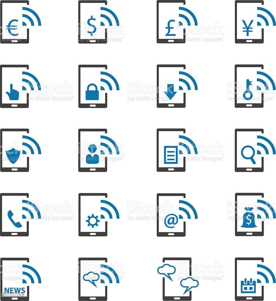 Mobile banking icons set vector art illustration