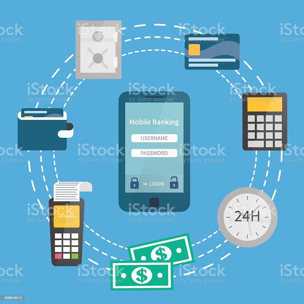 Mobile banking, online payments vector art illustration