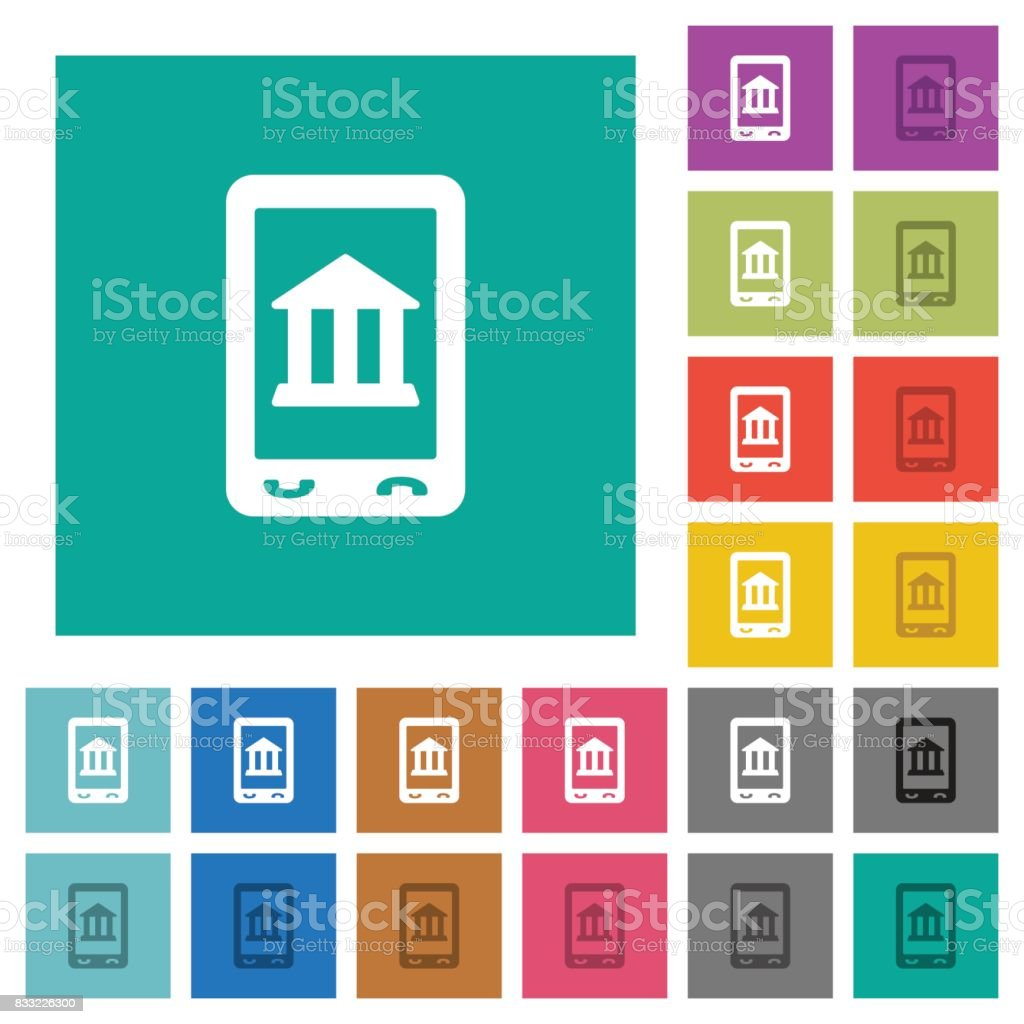 Mobile banking square flat multi colored icons vector art illustration