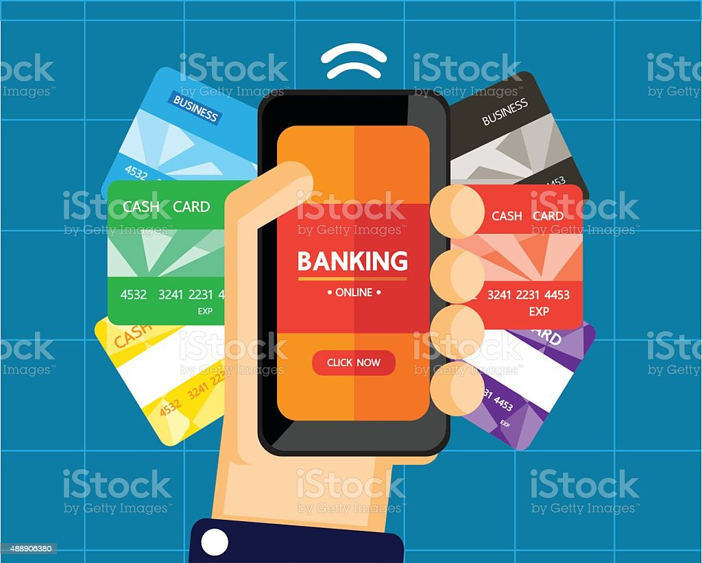 mobile banking vector art illustration
