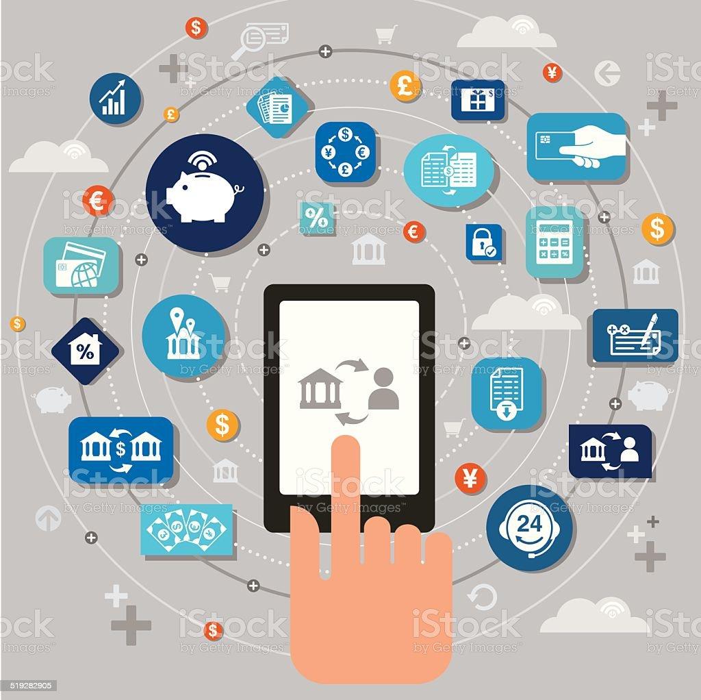 Mobile Banking vector art illustration