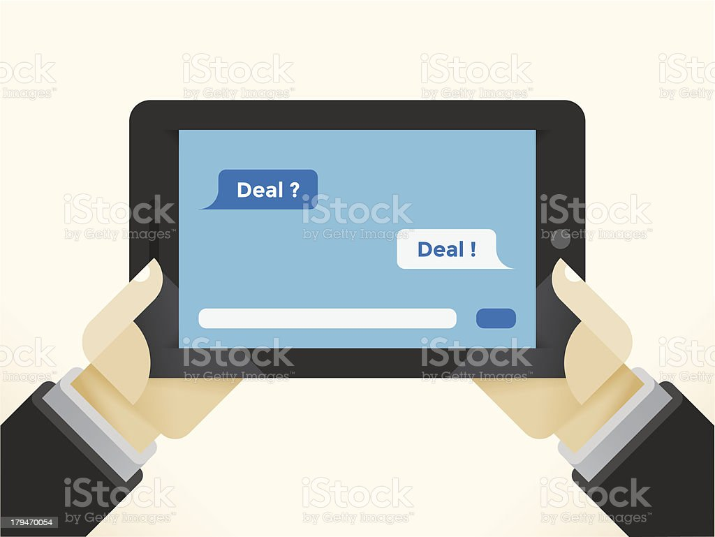 Mobile Business Deal royalty-free stock vector art
