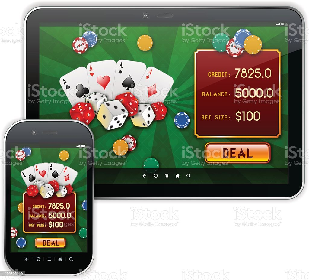 Mobile Casino Responsive UI Design vector art illustration