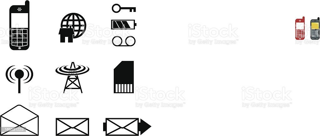 Mobile / Cell Phone Icons vector art illustration