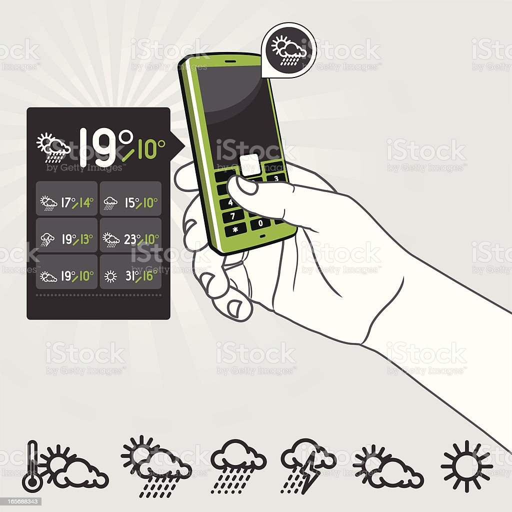 Mobile Cell Phone Interface - Weather Application royalty-free stock vector art