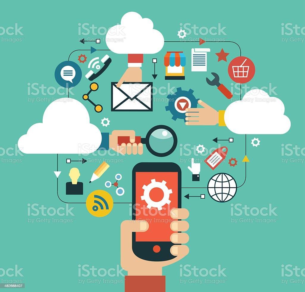 mobile cloud computing vector art illustration