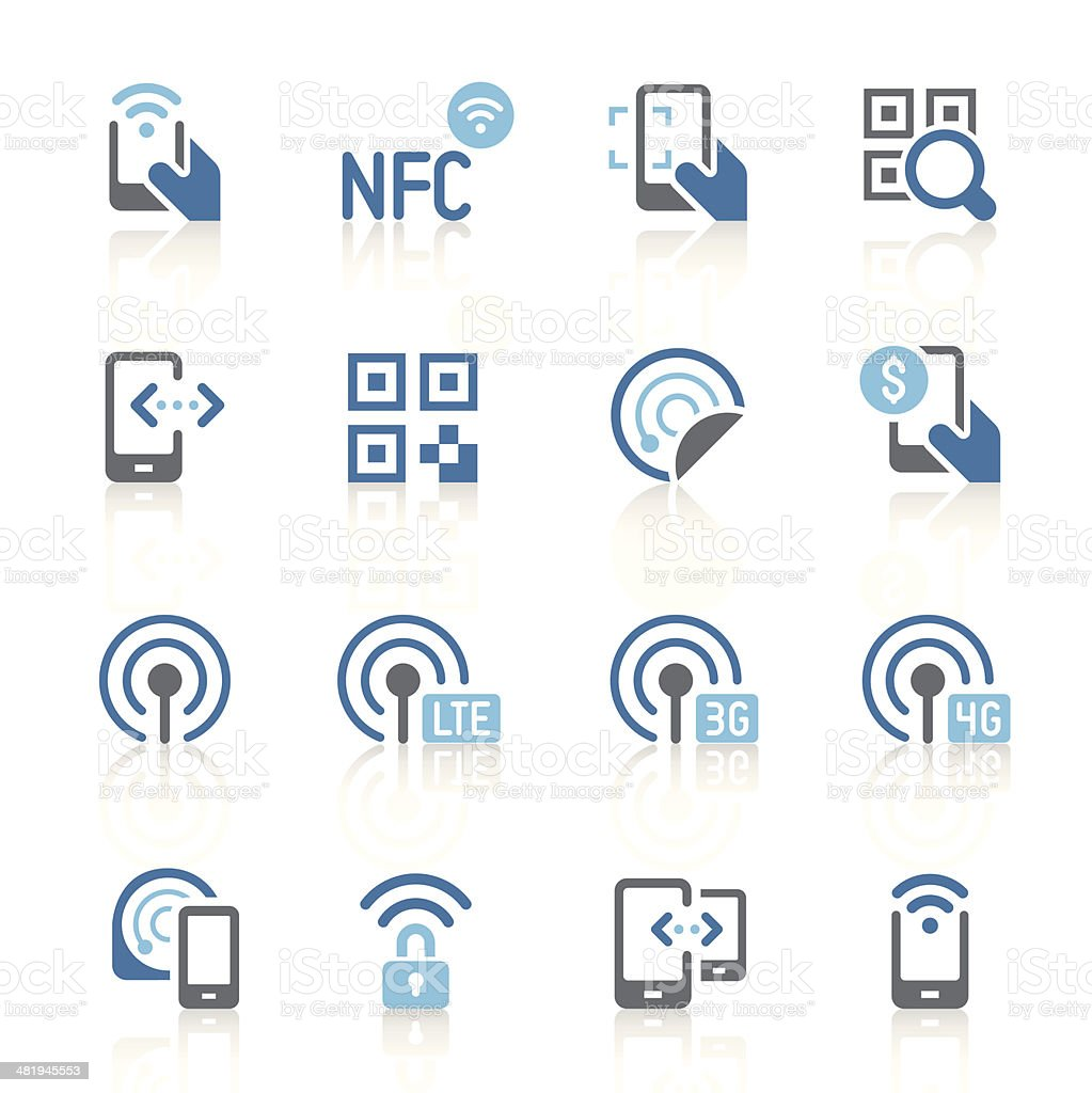 Mobile communication icons | azur series vector art illustration