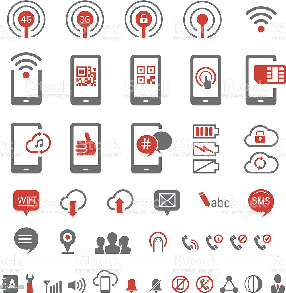 Mobile communication icons vector art illustration