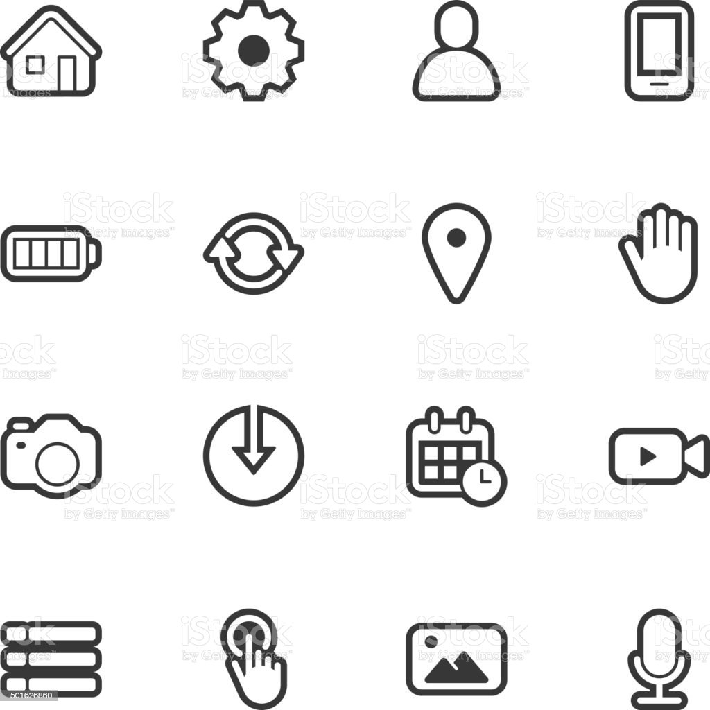 Mobile control icons - Regular Outline vector art illustration