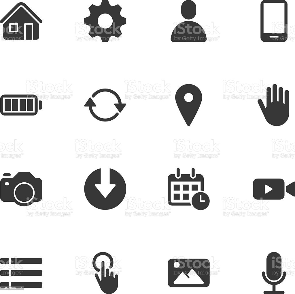 Mobile control icons - Regular vector art illustration