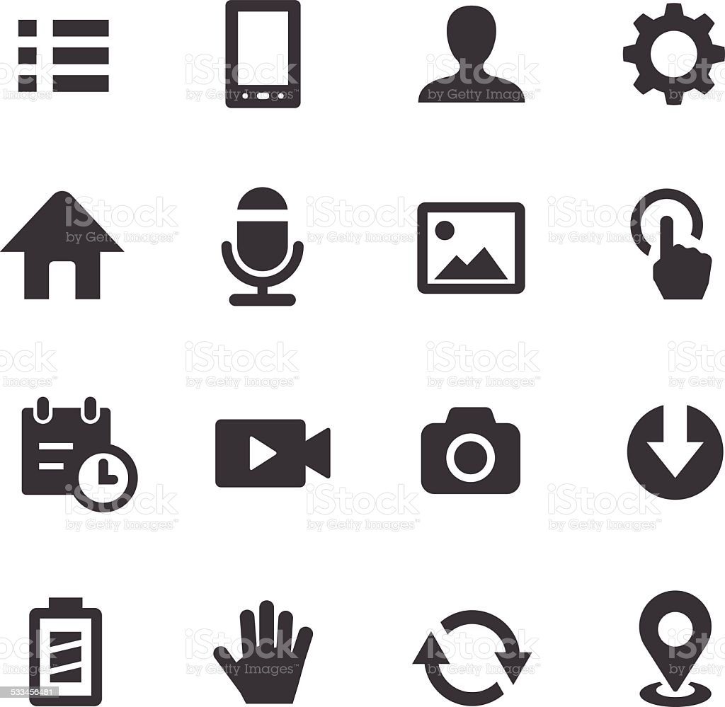 Mobile control Icons Set - Acme Series vector art illustration