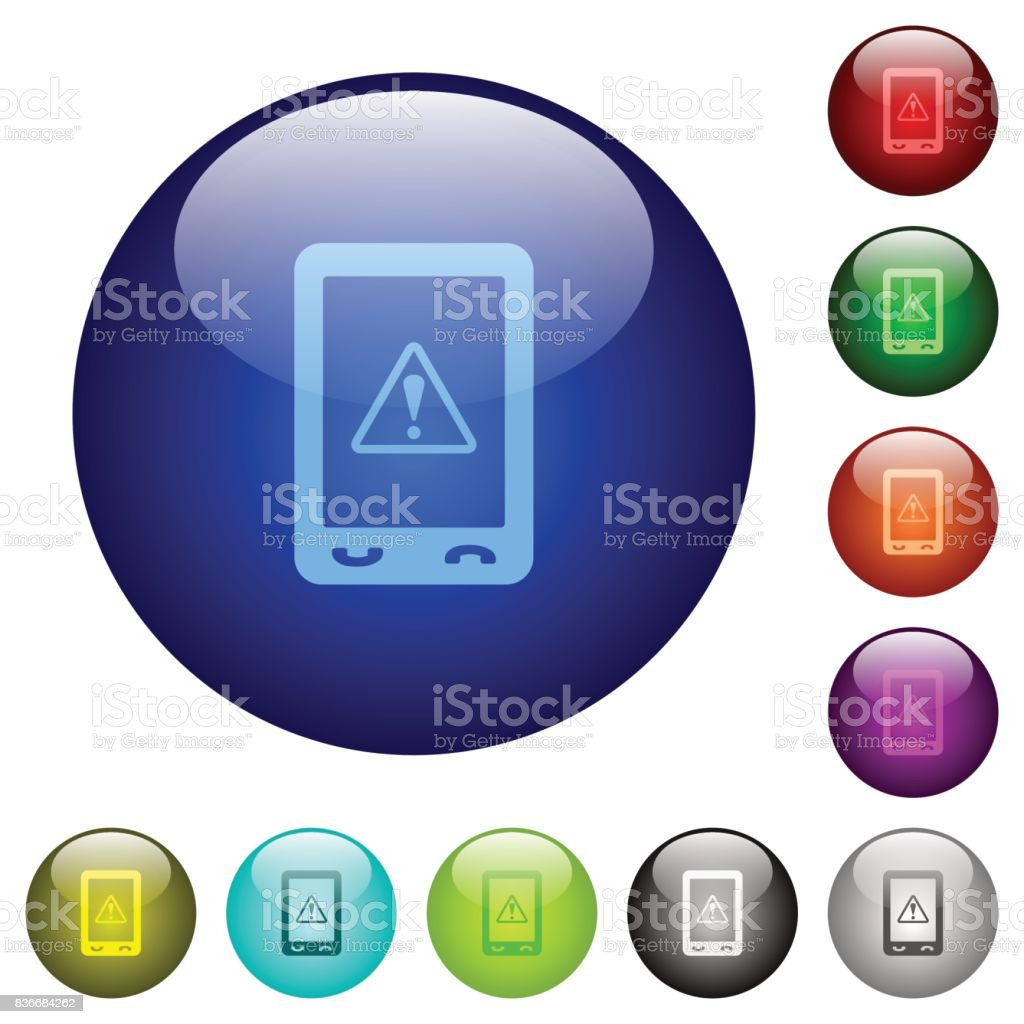Mobile data traffic color glass buttons vector art illustration