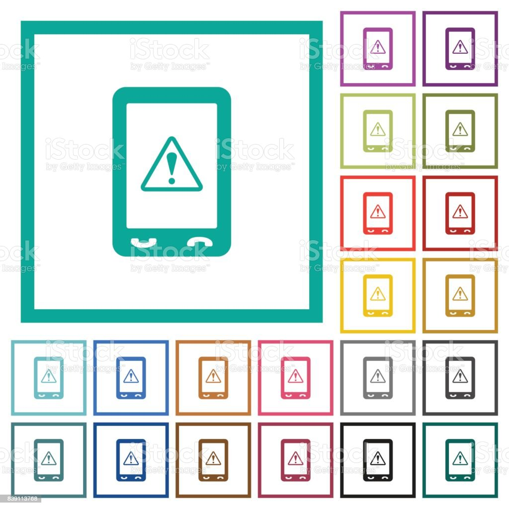 Mobile data traffic flat color icons with quadrant frames vector art illustration