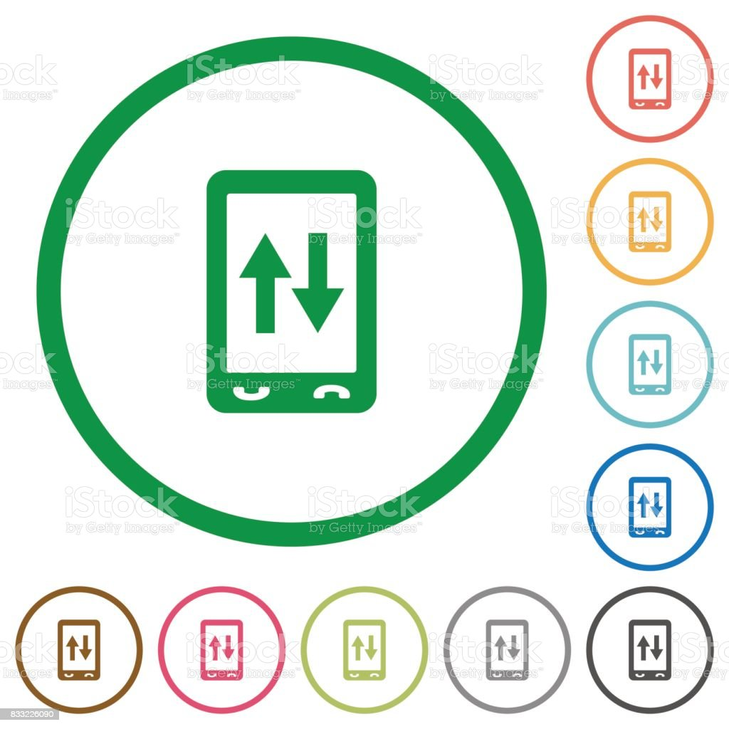 Mobile data traffic flat icons with outlines vector art illustration