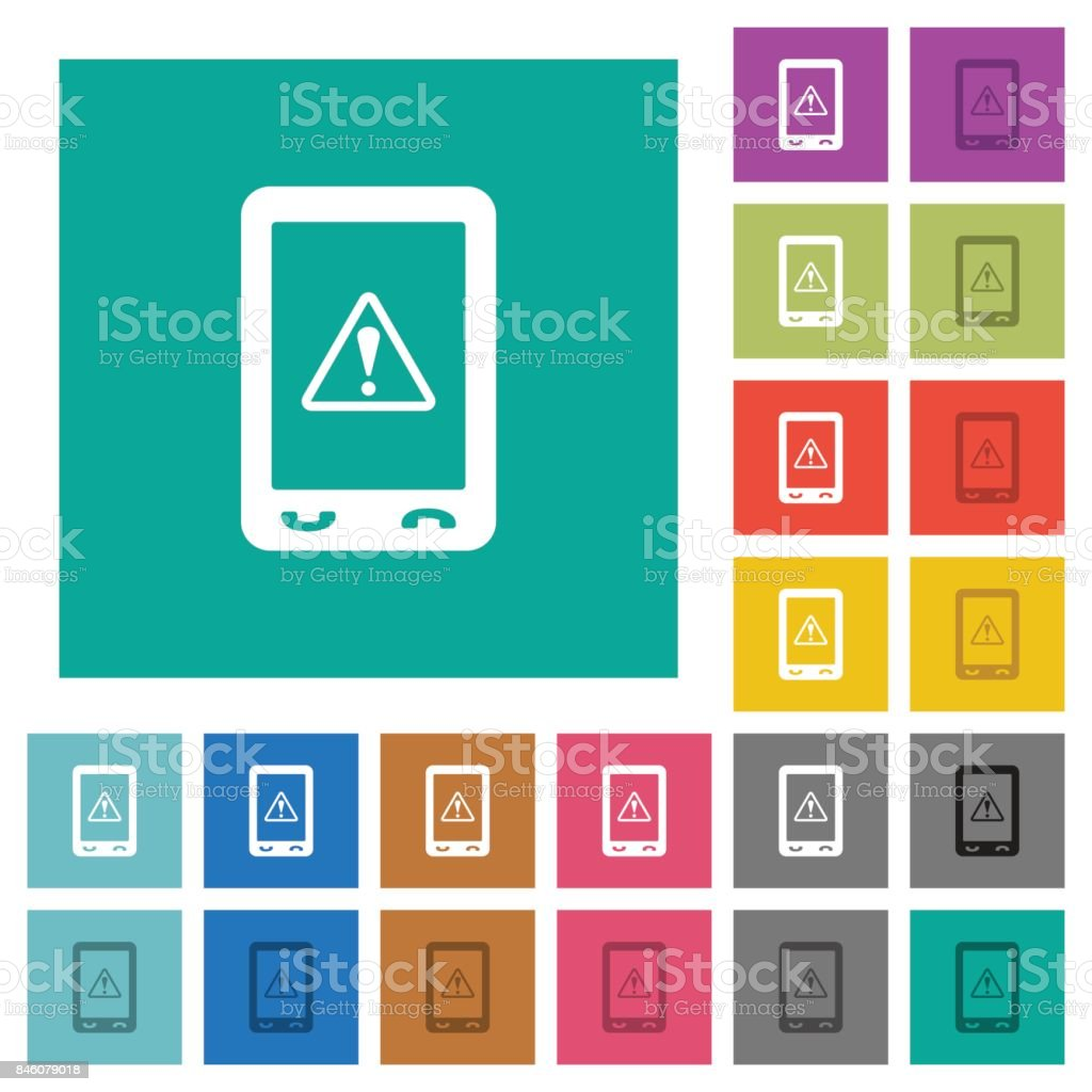 Mobile data traffic square flat multi colored icons vector art illustration
