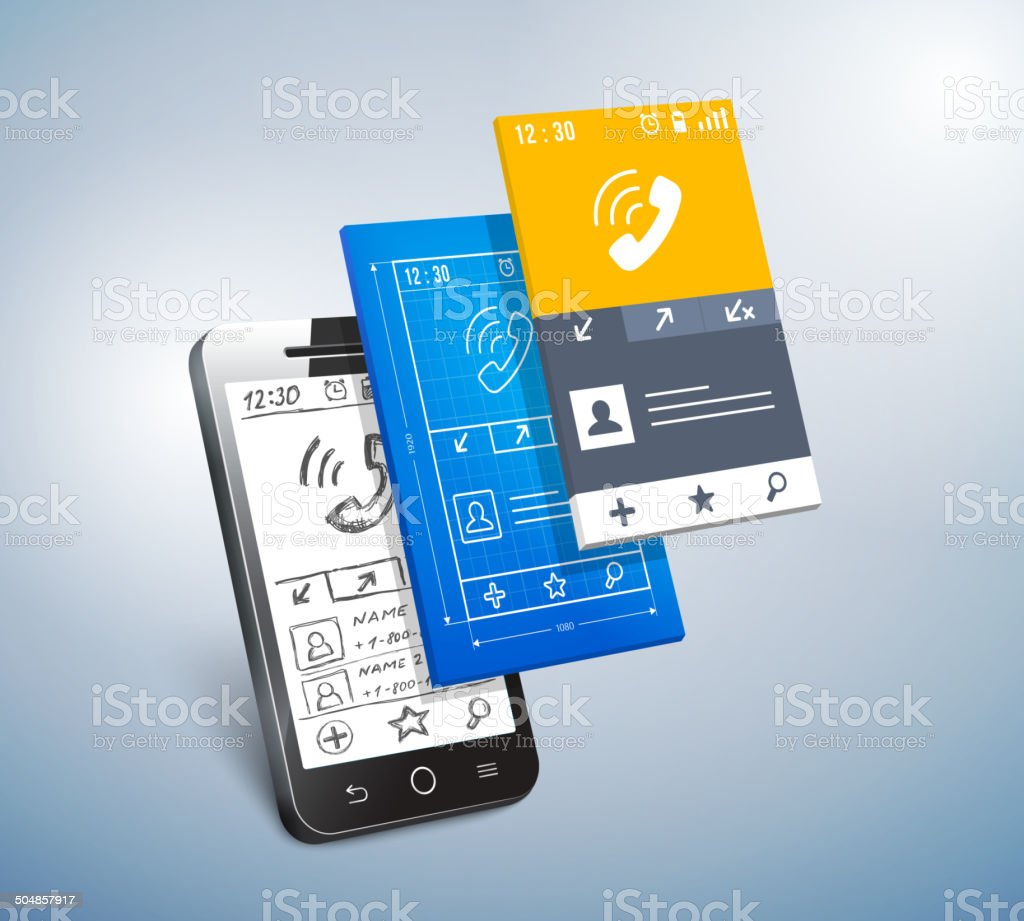 mobile development vector art illustration
