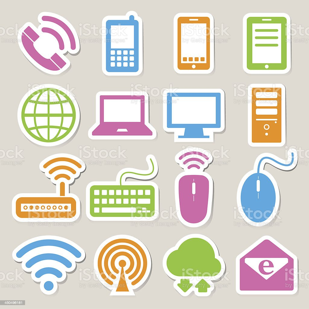 Mobile devices , computer and network connections icons set. royalty-free stock vector art