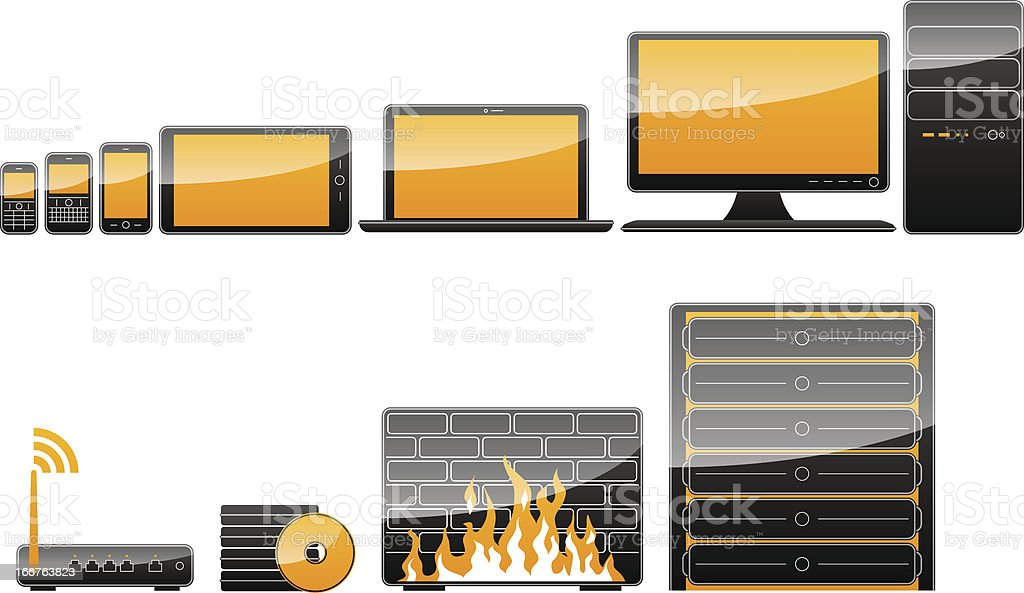 Mobile devices, computers and other IT hardware royalty-free stock vector art
