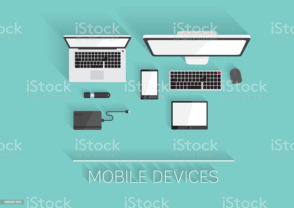 Mobile Devices Flat Design vector art illustration