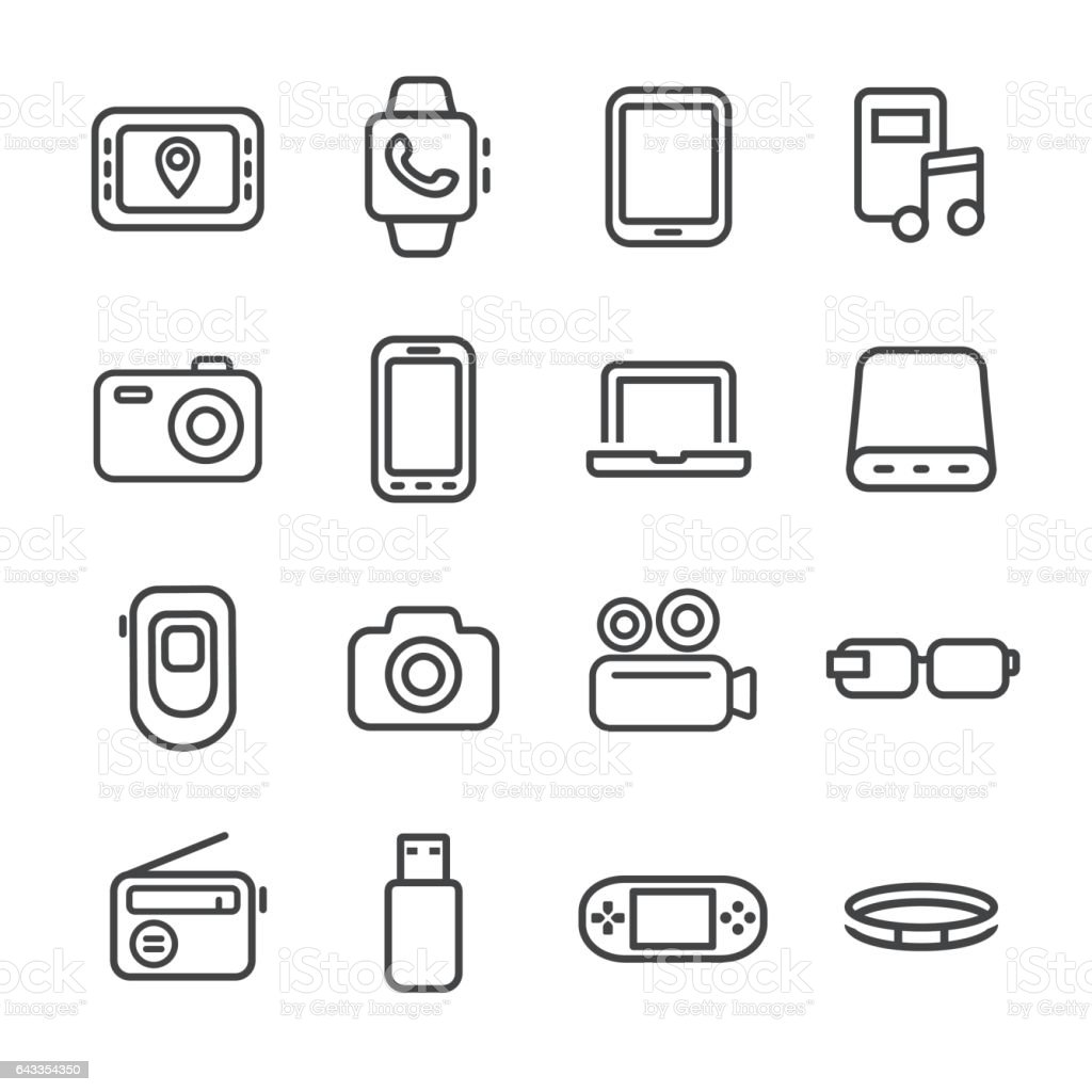 Mobile Devices Icon Set - Line Series vector art illustration
