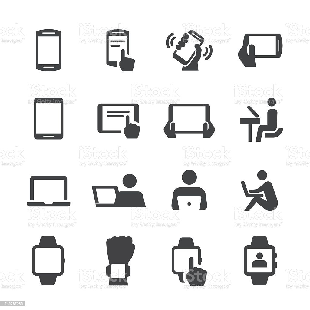 Mobile Devices Icons - Acme Series vector art illustration