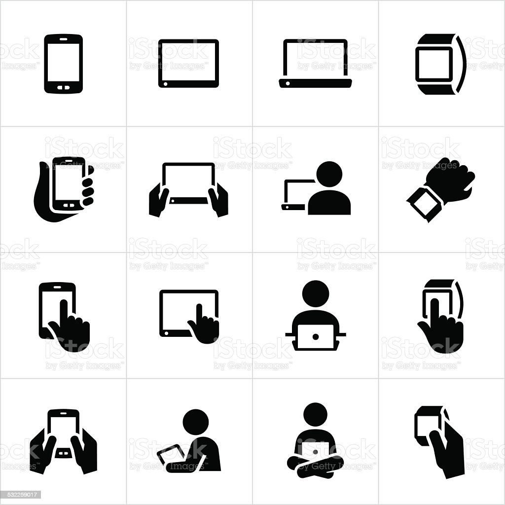 Mobile Devices Icons vector art illustration