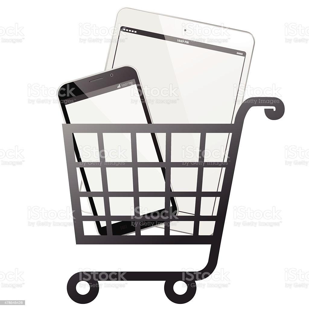 Mobile Devices Shopping Cart - Vector illustration vector art illustration