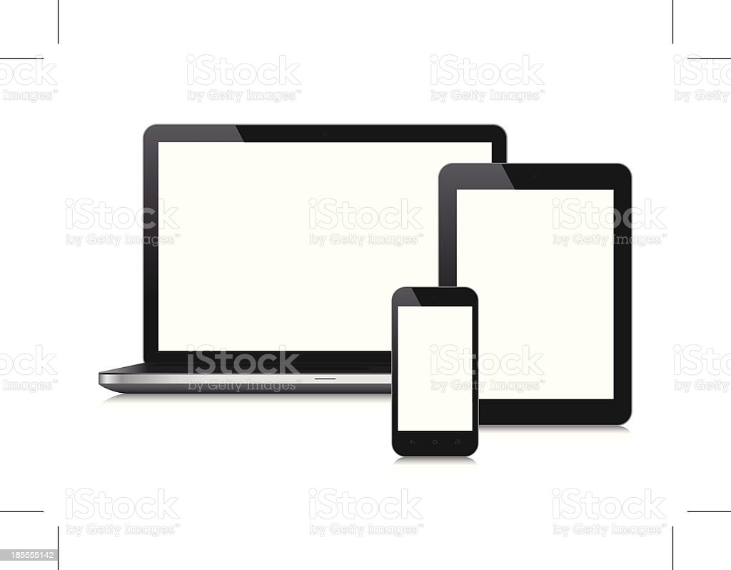 Mobile Devices with blank screen vector art illustration