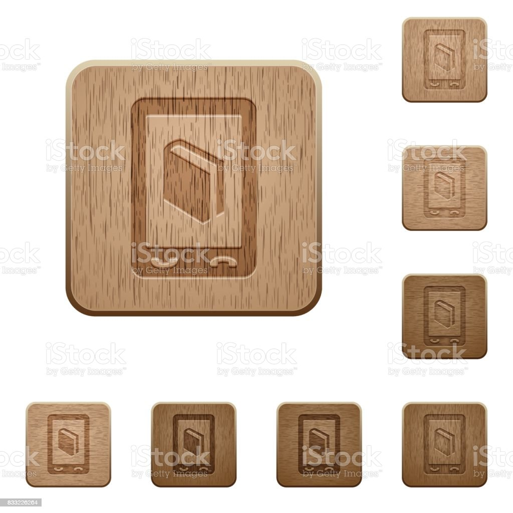 Mobile dictionary wooden buttons vector art illustration