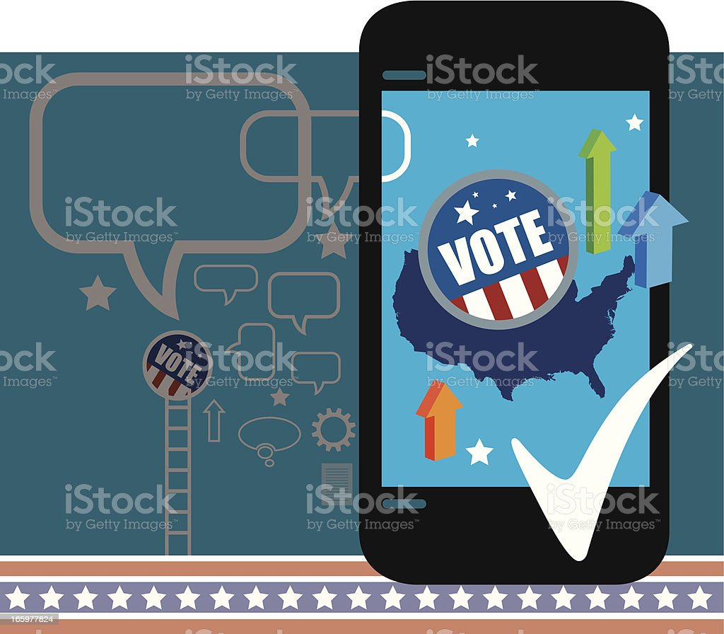 Mobile Election results vector art illustration