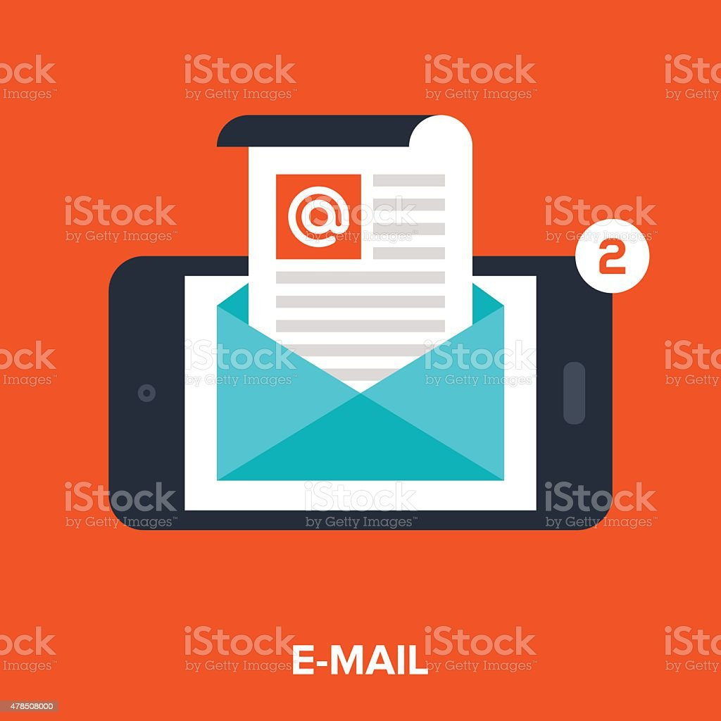 mobile email vector art illustration