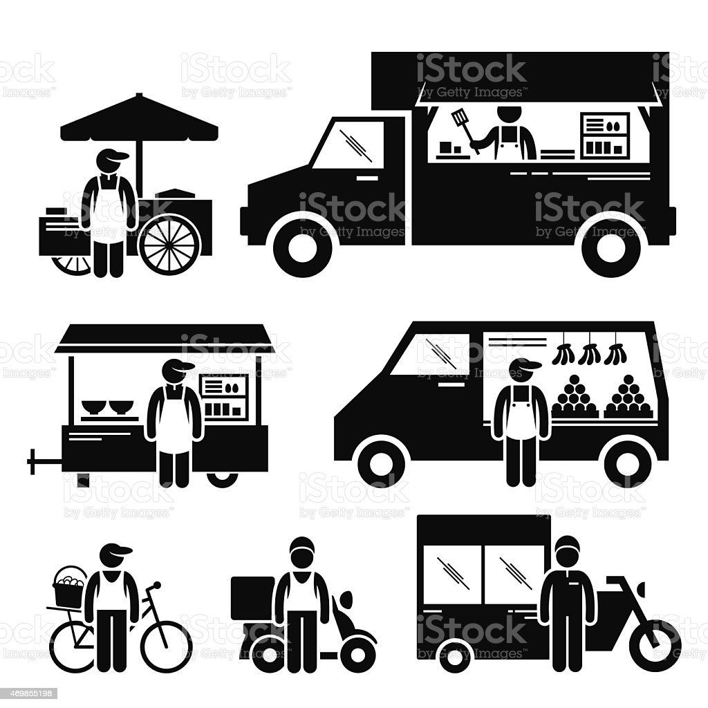 Mobile Food Vehicles Truck Van Pictogram vector art illustration