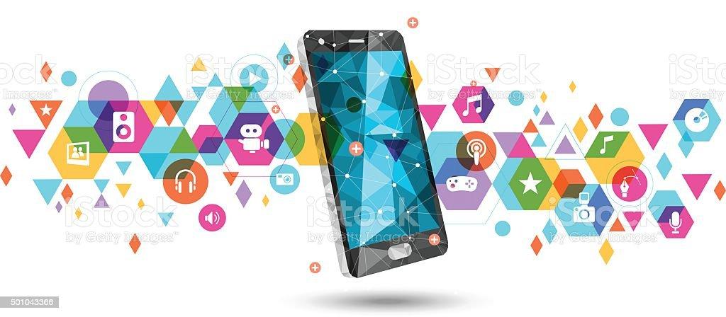Mobile for multimedia vector art illustration