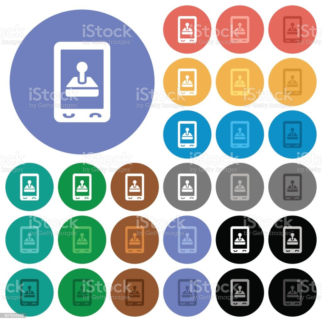 Mobile gaming round flat multi colored icons vector art illustration