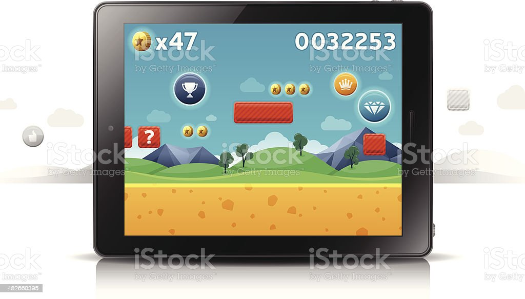 Mobile Gaming Tablet vector art illustration