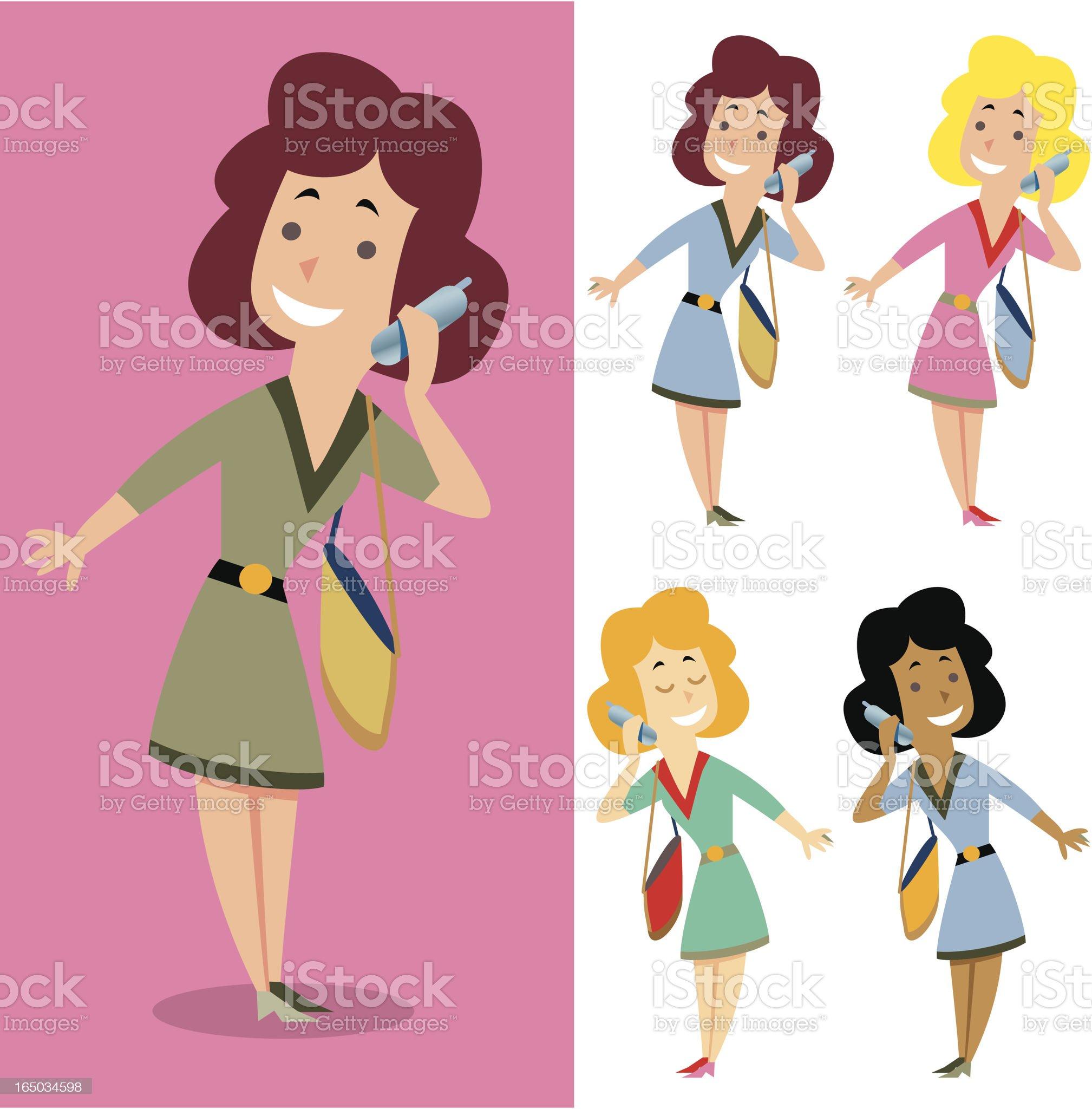 Mobile girl royalty-free stock vector art