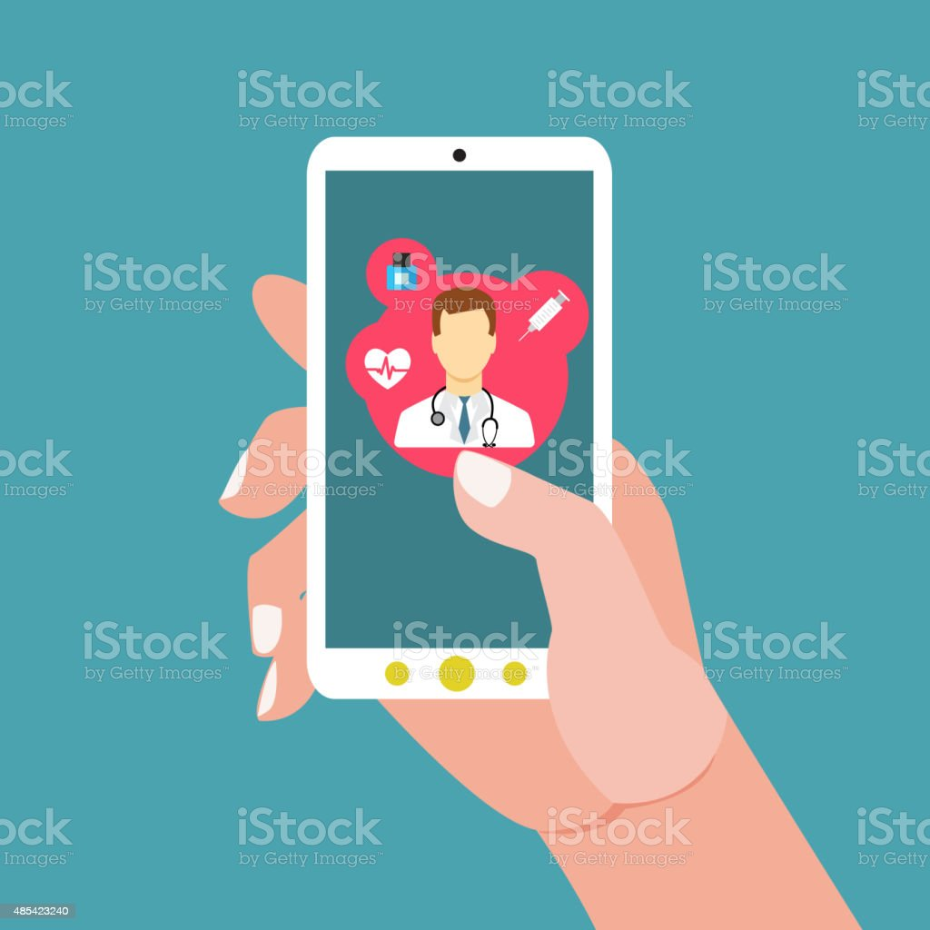 Mobile health with hand hand holding smartphone vector art illustration