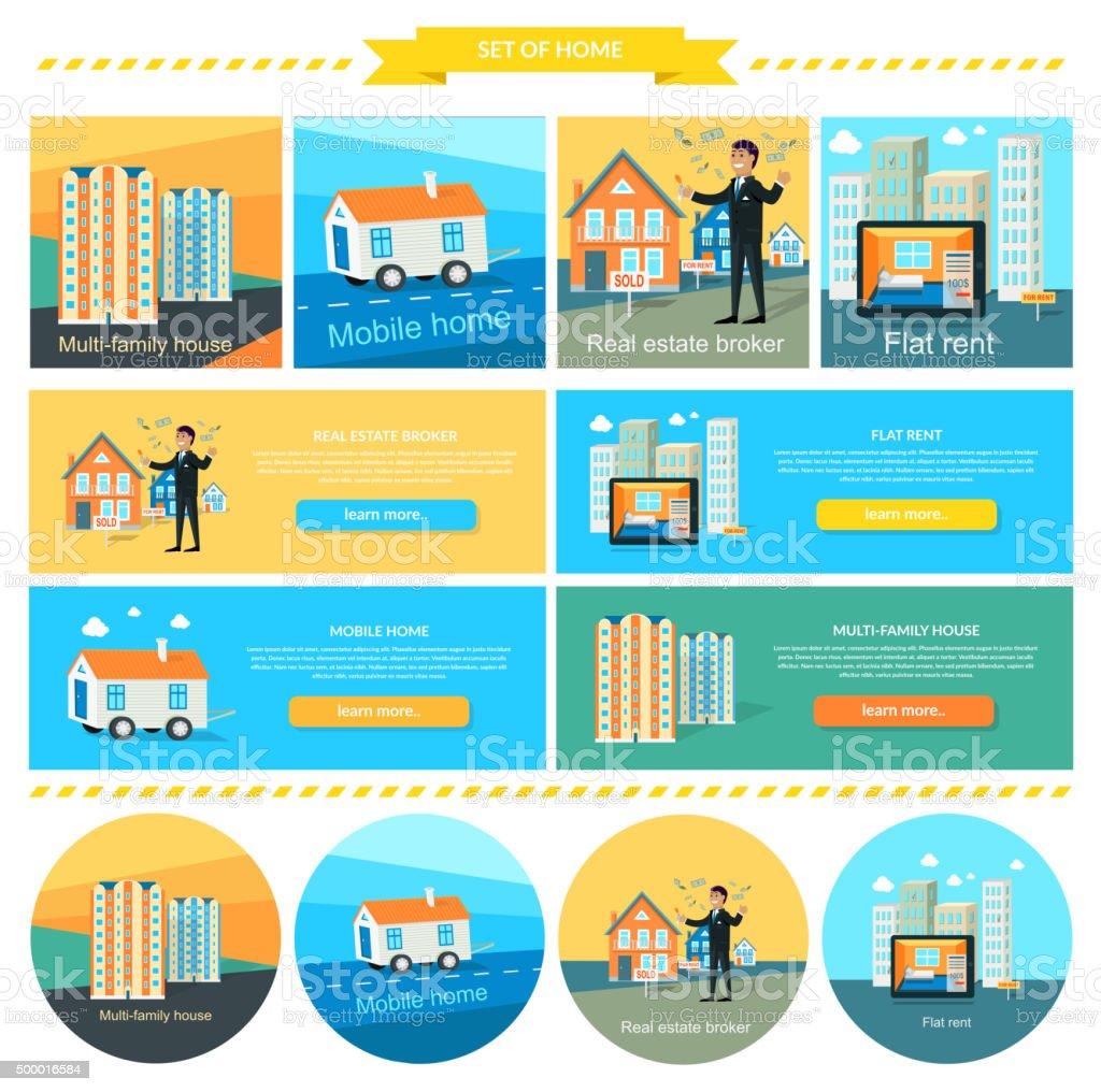 Mobile Home, Flat Rent, Multi-family House vector art illustration