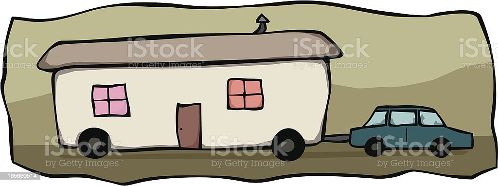 Mobile Home Towing royalty-free stock vector art