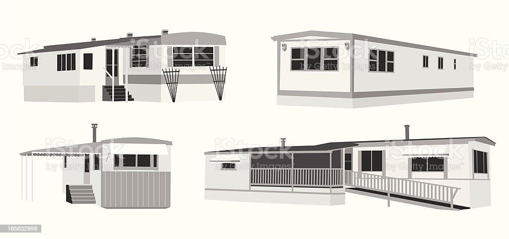 Mobile Homes Vector Silhouette vector art illustration